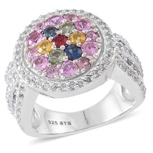 Multi Sapphire, Cambodian Zircon Sterling Silver Ring (Size 9.0) TGW 5.19 cts.