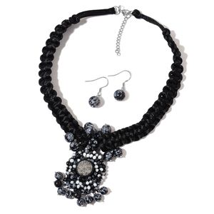 Snowflake Jasper, Silver Drusy Quartz Stainless Steel Earrings and Necklace on Black Braided Cord (18 in) TGW 135.00 cts.
