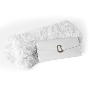 White Faux Leather Trifold Wallet (7.2x3.4 in) and White 100% Acrylic Magic Scarf (One Size)