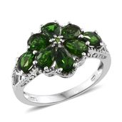 Dan's Jewelry Selections Russian Diopside Platinum Over Sterling Silver Floral Ring (Size 9.0) TGW 3.46 cts.