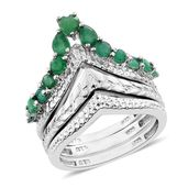 Kagem Zambian Emerald Platinum Over Sterling Silver Ring (Size 7.0) TGW 1.04 cts.