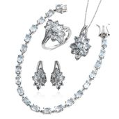 Mega Clearance Sky Blue Topaz Platinum Over Sterling Silver Split Floral Bracelet (7.50 in), Earrings, Ring (Size 7) and Pendant With Chain (18.00 In) TGW 25.94 cts.