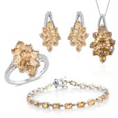 Mega Clearance Brazilian Citrine Platinum Over Sterling Silver Split Floral Bracelet (7.50 in), Earrings, Ring (Size 8) and Pendant With Chain (18.00 In) TGW 19.72 cts.