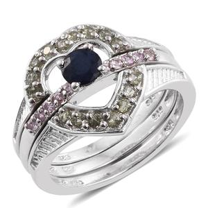 Set of 4 Kanchanaburi Blue Sapphire, Madagascar Pink and Green Sapphire, Cambodian Zircon Platinum Over Sterling Silver Multi Design Stackable Rings (Size 5.0) TGW 1.52 cts.