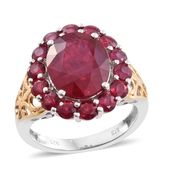 Niassa Ruby 14K YG and Platinum Over Sterling Silver Ring (Size 7.0) TGW 9.06 cts.
