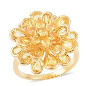 Yellow Sapphire 14K YG Over Sterling Silver 3D Floral Ring (Size 7.0) TGW 7.25 cts.
