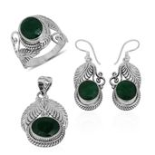 Bali Legacy Collection Emerald (Color Enhanced) Sterling Silver Leaf Engraved Earrings, Ring (Size 11) and Pendant without Chain TGW 24.71 cts.