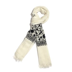 Cream Embroidered 100% Merino Wool Scarf (80x28 in)
