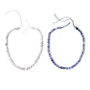 Gem Workshop Sodalite, White Howlite Beads Set of 2 String (15 in) TGW 247.00 cts.