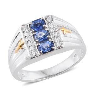 Ceylon Blue Sapphire, Cambodian Zircon 14K YG and Platinum Over Sterling Silver Men's Ring (Size 14.0) TGW 1.62 cts.