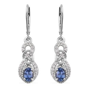 Ceylon Blue Sapphire, Cambodian Zircon Platinum Over Sterling Silver Lever Back Earrings TGW 1.60 cts.