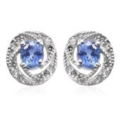 Mega Clearance Ceylon Blue Sapphire, Cambodian Zircon Platinum Over Sterling Silver Halo Stud Earrings TGW 1.06 cts.