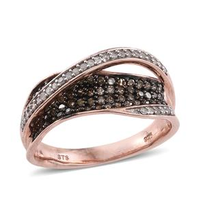 Champagne Diamond, Diamond Black Rhodium & 14K RG Over Sterling Silver Crossover Ring (Size 9.0) TDiaWt 0.76 cts, TGW 0.76 cts.