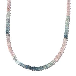 Year End Special Multi Aquamarine Beads Sterling Silver Necklace (18 in) TGW 55.60 cts.