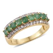 Kagem Zambian Emerald, Cambodian Zircon 14K YG Over Sterling Silver Band Ring (Size 5.0) TGW 1.92 cts.