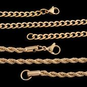 ION Plated YG Stainless Steel Set of 2 Chain (24 in)