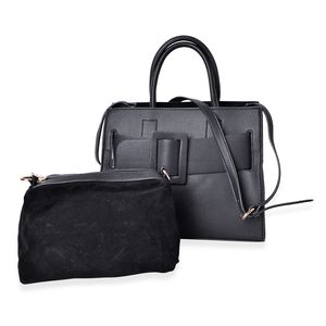 Black Faux Leather Buckle Handbag (13x7x10 in) with Detachable Velvet Pouch (11x5.5x8 in)