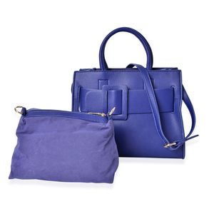 Blue Faux Leather Set of 2 Handbag (12.2x6.4 in)