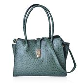 Green Ostrich Embossed Faux Leather Structure Bag (14.5x6.5x10 in) with Standing Studs and Removable Strap (42 in)