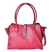 Red Ostrich Embossed Faux Leather Structure Bag (14.5x6.5x10 in) with Standing Studs and Removable Strap (42 in)