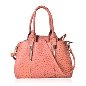 Coral Ostrich Pattern Faux Leather Tote Bag (14.6x5x11 in)