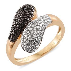 KARIS Collection - Black Diamond Accent (IR) Black Rhodium, ION Plated 18K YG and Platinum Bond Brass Bypass Ring (Size 7.0)