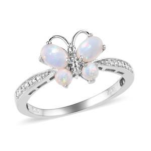 KARIS Collection - Australian White Opal Platinum Bond Brass Butterfly Ring (Size 9.0) TGW 0.75 cts.