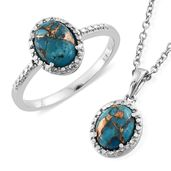 Ankur's Treasure Chest Mojave Blue Turquoise Stainless Steel Ring (Size 8) and Pendant With Chain (20 in) TGW 3.66 cts.