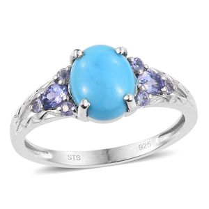 Arizona Sleeping Beauty Turquoise, Tanzanite Platinum Over Sterling Silver Ring (Size 11.0) TGW 2.69 cts.