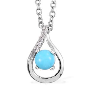 Arizona Sleeping Beauty Turquoise, Cambodian Zircon Platinum Over Sterling Silver Solitaire Drop Pendant With Chain (20 in) TGW 0.49 cts.