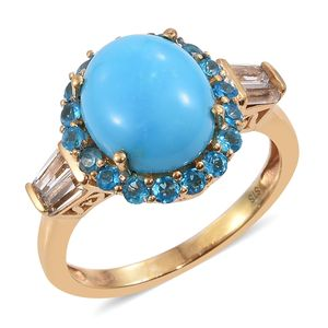 Arizona Sleeping Beauty Turquoise, White Topaz, Malgache Neon Apatite 14K YG Over Sterling Silver Ring (Size 7.0) TGW 5.03 cts.