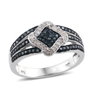 Dan's Jewelry Selections Blue Diamond (IR), Diamond Platinum Over Sterling Silver Split Ring (Size 8.0) TDiaWt 0.50 cts, TGW 0.50 cts.