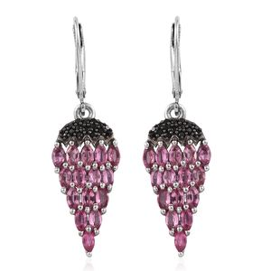 Mahenge Pink Spinel, Thai Black Spinel Platinum Over Sterling Silver Lever Back Earrings TGW 5.10 cts.