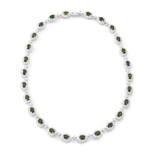 Russian Diopside, Cambodian White Zircon Sterling Silver Necklace (18 in) TGW 37.00 cts.