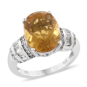 Tony's Collector Show Yellow Fluorite, White Topaz, Cambodian Zircon Platinum Over Sterling Silver Ring (Size 10.0) TGW 11.37 cts.