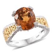 Tony's Collector Show Santa Ana Madeira Citrine, Cambodian Zircon 14K YG and Platinum Over Sterling Silver Ring (Size 10.0) TGW 5.20 cts.