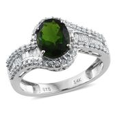 14K WG Russian Diopside, Diamond Ring (Size 6.0) TDiaWt 0.47 cts, TGW 2.37 cts.