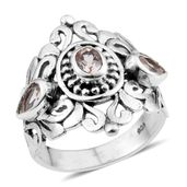 Artisan Crafted Marropino Morganite Sterling Silver Openwork Ring (Size 5.0) TGW 0.68 cts.