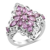 Madagascar Pink Sapphire Platinum Over Sterling Silver Cluster Ring (Size 5.0) TGW 2.37 cts.