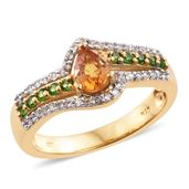 Orange Sapphire, Russian Diopside, Cambodian Zircon 14K YG Over Sterling Silver Ring (Size 5.0) TGW 1.35 cts.