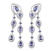 Premium AAA Tanzanite Platinum Over Sterling Silver Earrings TGW 2.52 cts.