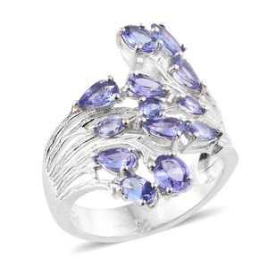 Premium AAA Tanzanite Platinum Over Sterling Silver Bypass Ring (Size 5.0) TGW 2.74 cts.