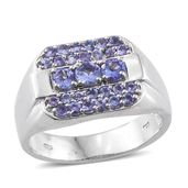 Premium AAA Tanzanite Platinum Over Sterling Silver Men's Ring (Size 10.0) TGW 2.20 cts.