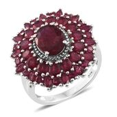 Srikant's Showstopper Niassa Ruby Platinum Over Sterling Silver Flower Ring (Size 8.0) TGW 9.33 cts.