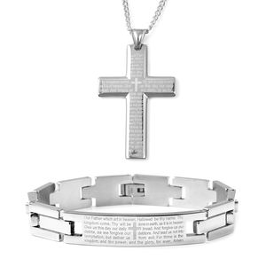 Doorbuster Stainless Steel Lord's Prayer Bracelet (8.50 in) and Cross Pendant With Chain (24.00 In)