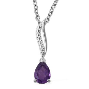 Amethyst Sterling Silver Pendant With Stainless Steel Chain (20 in) TGW 0.66 cts.