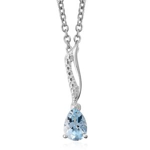Sky Blue Topaz Sterling Silver Pendant With Stainless Steel Chain (20 in) TGW 0.80 cts.
