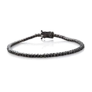 Black Diamond (IR) Black Rhodium Sterling Silver Tennis Bracelet with Open Box Clasp (7.50 In) TDiaWt 4.00 cts, TGW 4.00 cts.