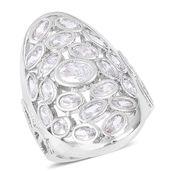 Simulated Diamond Silvertone Elongated Ring (Size 7.0) TGW 5.00 cts.