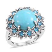 Arizona Sleeping Beauty Turquoise, Malgache Neon Apatite, White Topaz Platinum Over Sterling Silver Ring (Size 6.0) TGW 9.62 cts.